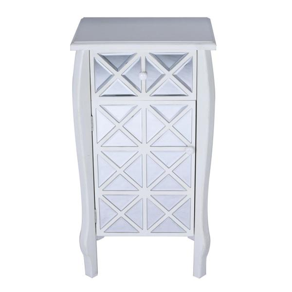 HomeRoots Shelly Assembled 24.75 in. x 24.75 in. x 19 in. Antique White Wood Accent Storage Cabinet with Drawer and Door