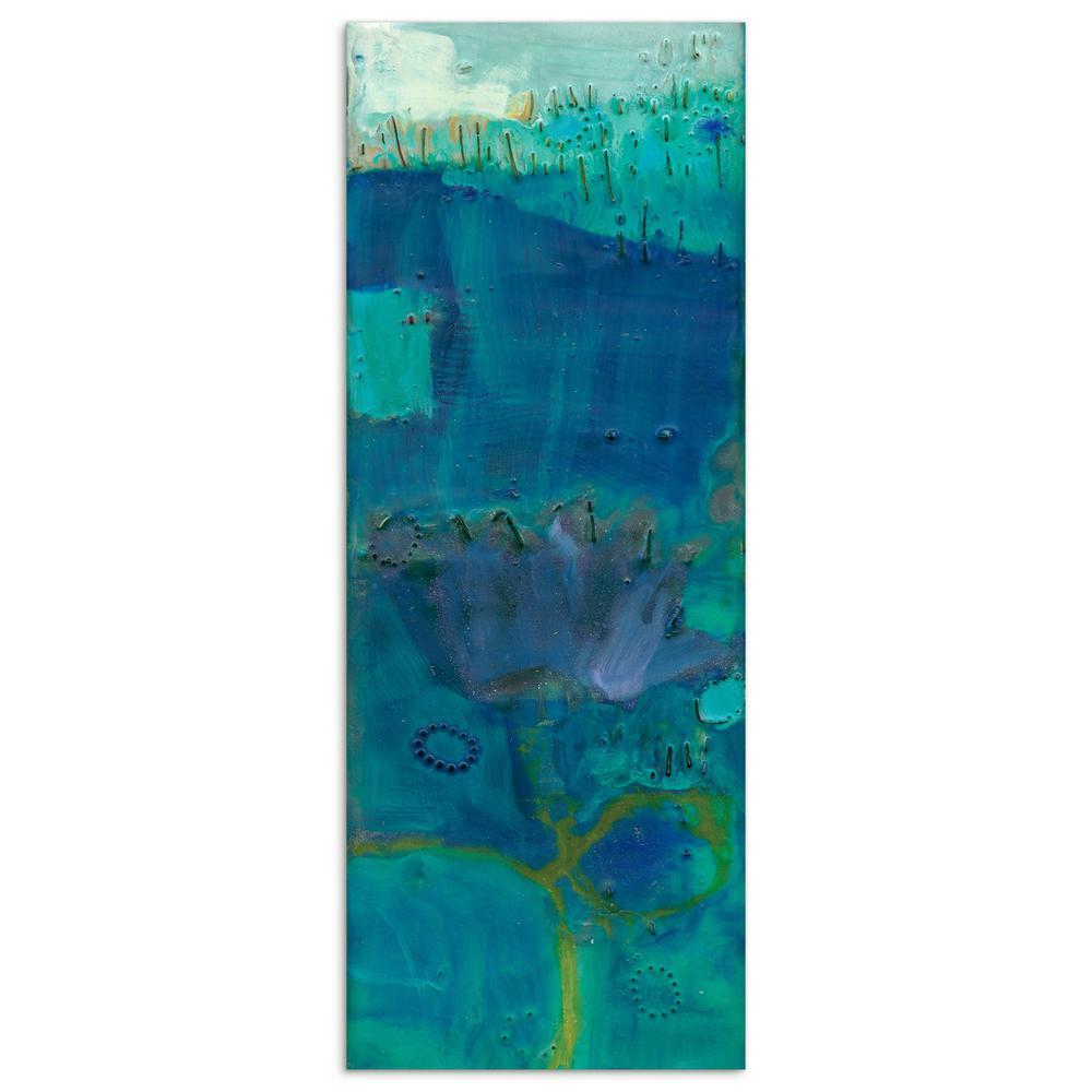 """Reedy Blue III"" by EAD Art Coop Frameless Free-Floating Tempered Art Glass Wall Art"