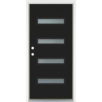 36 in. x 80 in. Right-Hand Inswing 4-Lite Frosted Glass Black Painted Fiberglass Prehung Front Door