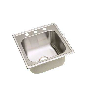 Dayton Premium 20 in. x 10.125 in. Top Mount Stainless Steel 3-hole Single Bowl Laundry Sink