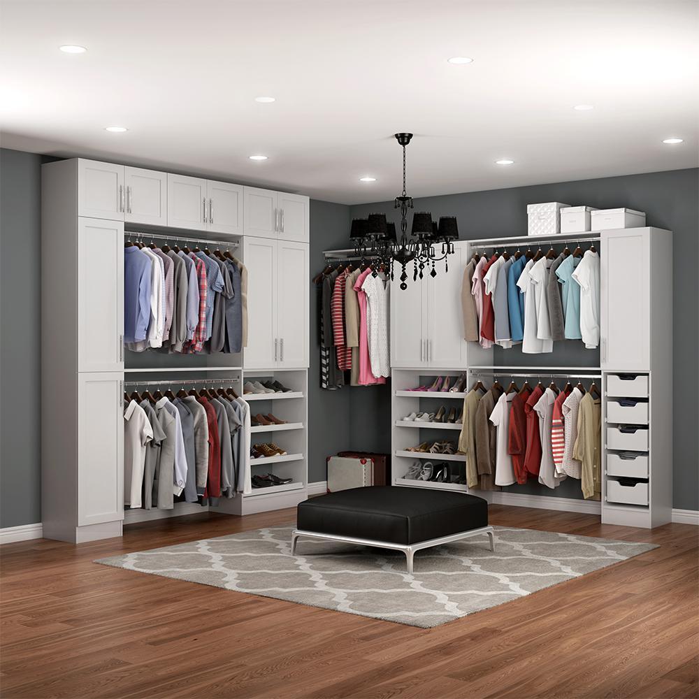 Madison 15 in. D x 255 in. W x 99 in. H Melamine Walk-in Closet System Kit in White