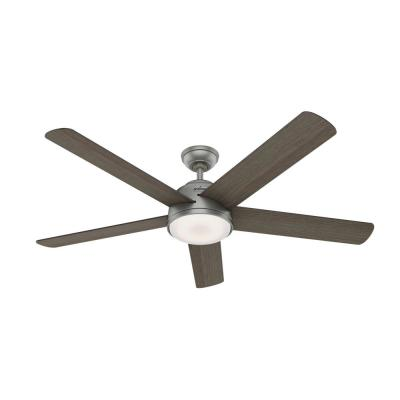 Romulus 60 in. Integrated LED Indoor Matte Silver Smart Ceiling Fan with Light Kit and Remote
