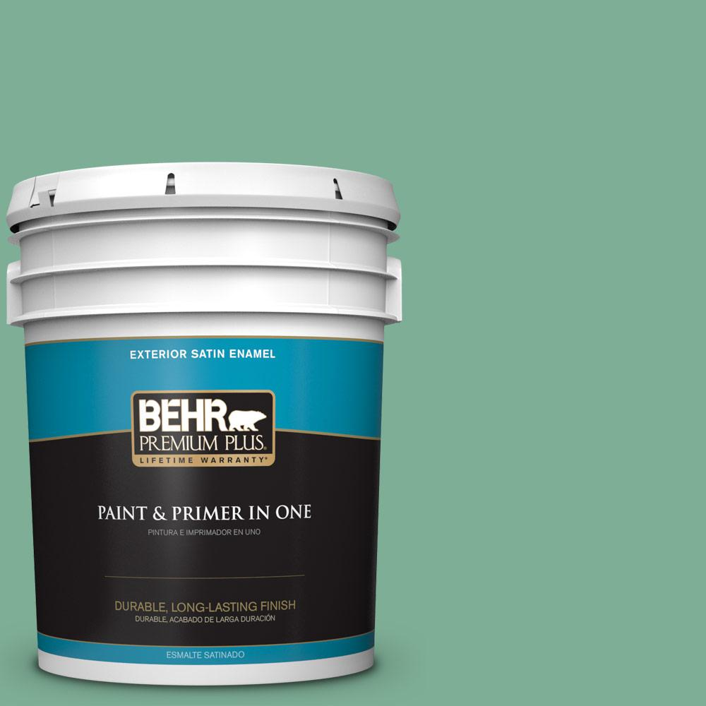 5 gal. #MQ6-12 Nature Green Satin Enamel Exterior Paint and Primer