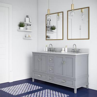 Irving 60 in. Double Bath Vanity in Gray with Porcelain Ocean Mist Engineered Stone Vanity Top and Two White Basins
