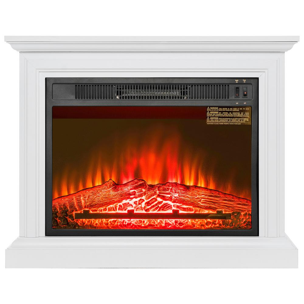 31 in. Freestanding Electric Fireplace Heater in White with Wooden Mantel