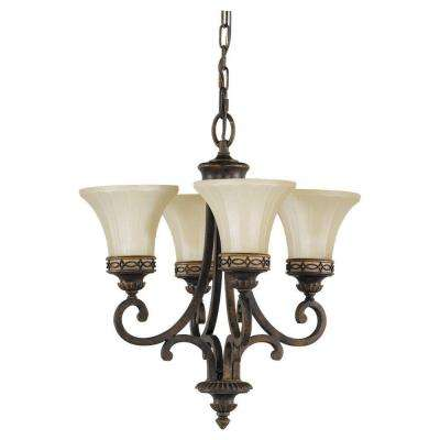 Drawing Room 4-Light Walnut 1-Tier Chandelier with Glass Shade