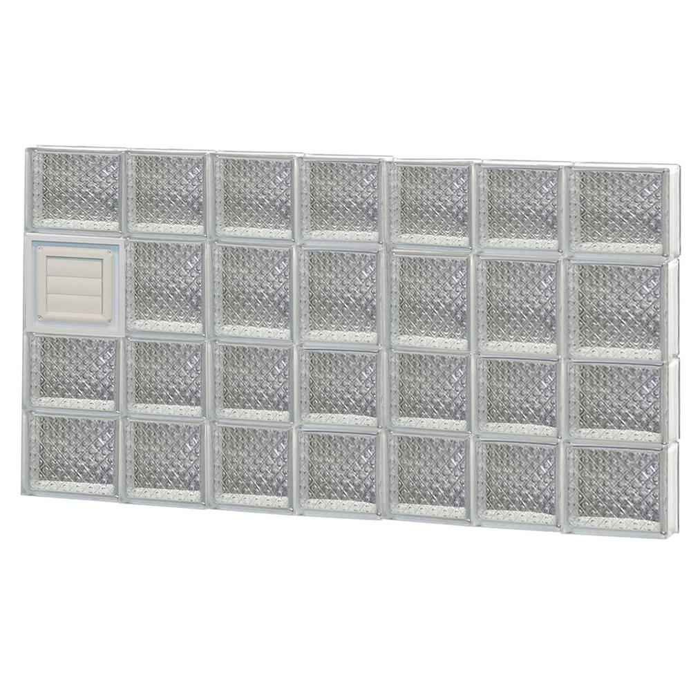 Clearly Secure 44.25 in. x 25 in. x 3.125 in. Frameless Diamond Pattern Glass Block Window with Dryer Vent