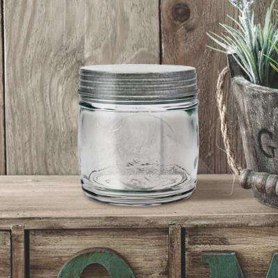 5.5 in. x 5.75in Clear Glass Embossed Bonbon Jar with Antique Galvanized Lid