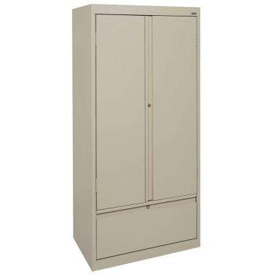 72 in. H x 36 in. W x 18 in. D Freestanding Steel Cabinet with File Drawer in Putty