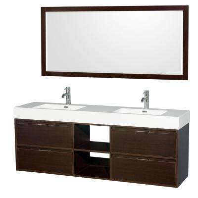 Daniella 72 in. W x 18 in. D Vanity in Espresso with Acrylic Vanity Top in White with White Basins and 70 in. Mirror