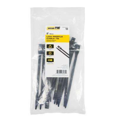 8 in. Low Profile Cable Tie, 60 lb. Tensile, Black, 100-Pack (Case of 10)