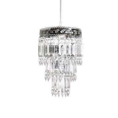 8 in. x 12 in. 1-Light Faux-Crystal & Chrome Pendant Chandelier Lamp Shade