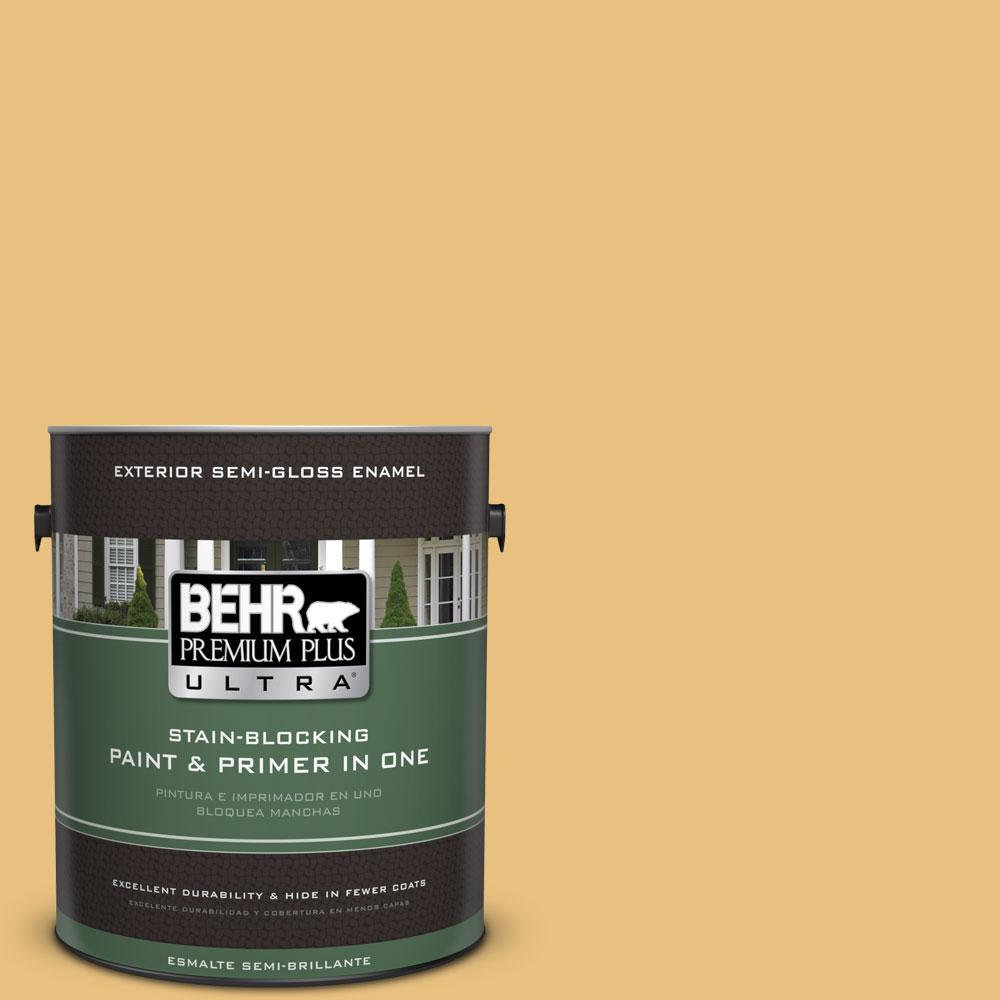 BEHR Premium Plus Ultra 1-gal. #340D-4 Honey Bear Semi-Gloss Enamel Exterior Paint