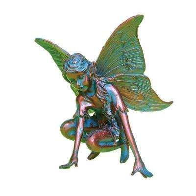 7 in. H Butterfly Fairy Home Patio and Garden Statue Figurine in Bronze Patina