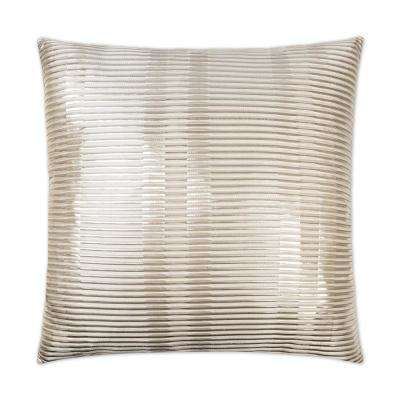 Grid Silver Feather Down 24 in. x 24 in. Standard Decorative Throw Pillow