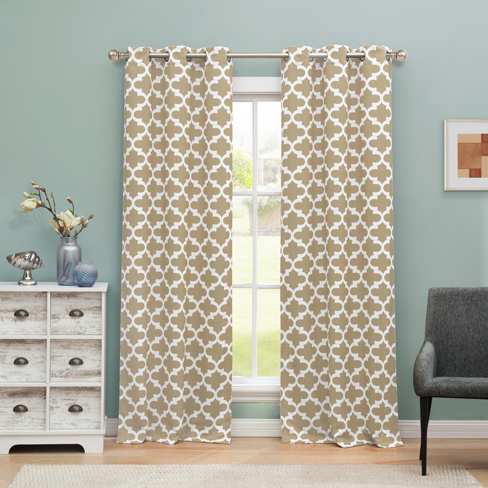 BLACKOUT 365 Kyra 38 in. W x 84 in. L Polyester Window Panel in Taupe