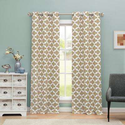 Kyra 38 in. W x 84 in. L Polyester Window Panel in Taupe