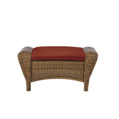Beacon Park Brown Wicker Outdoor Patio Ottoman with Sunbrella Henna Red Cushions