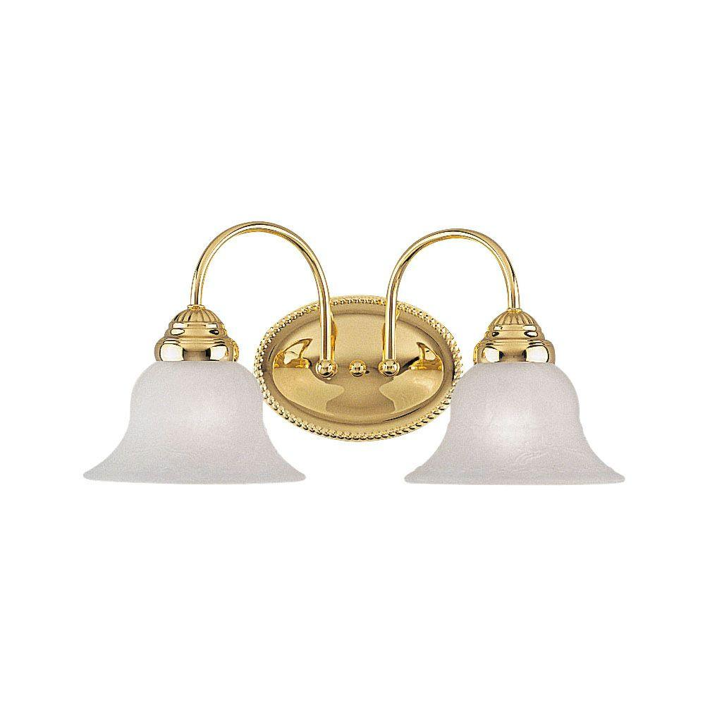 Bathroom Vanity Lights Brass: Livex Lighting West Lake 2-Light Polished Brass