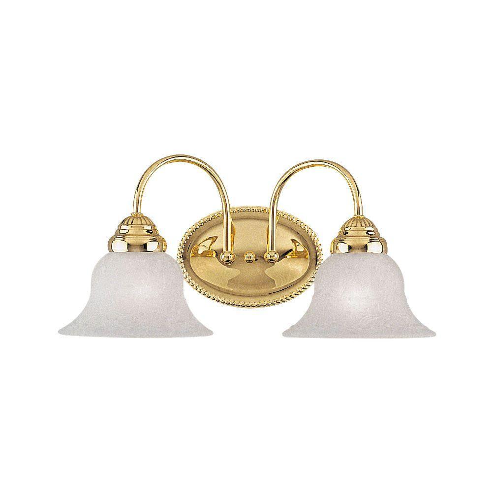 West Lake 2-Light Polished Brass Incandescent Bath Vanity Light