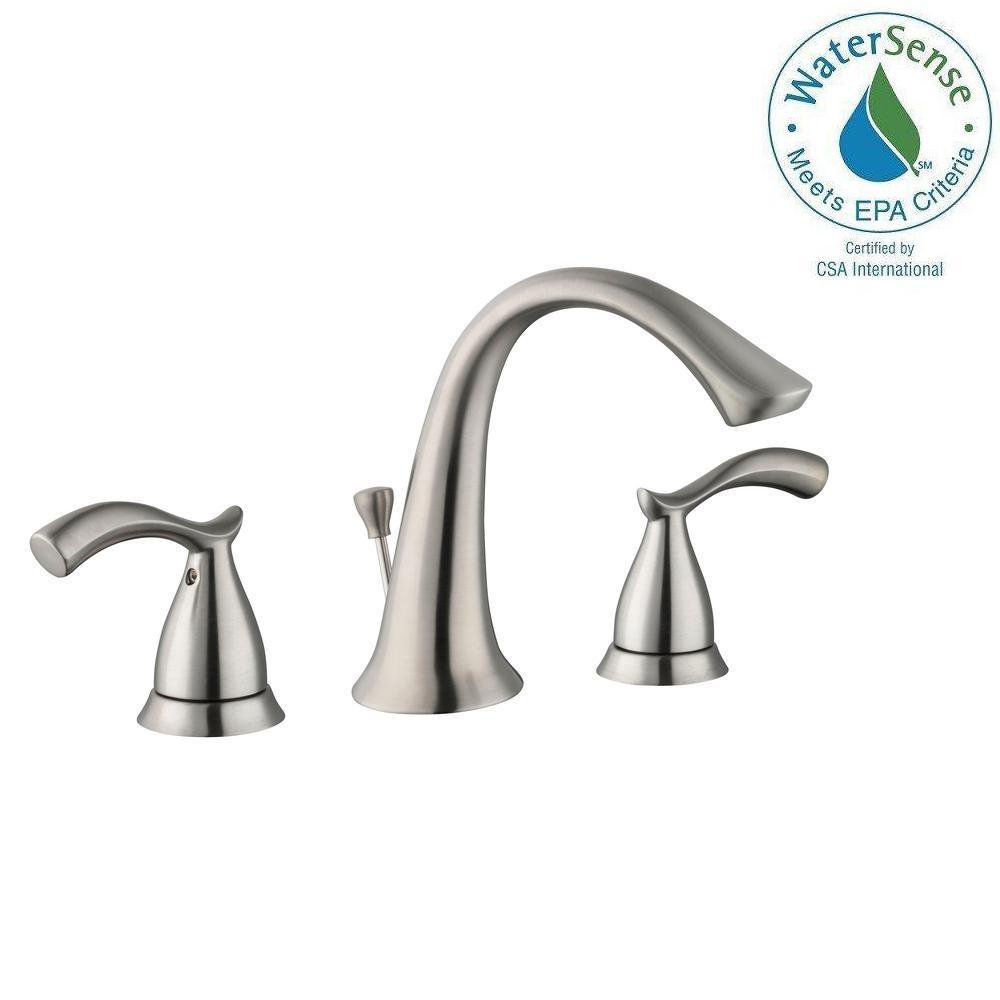 Glacier Bay Edgewood 8 inch Widespread 2-Handle High-Arc Bathroom Faucet in Brushed Nickel by Glacier Bay