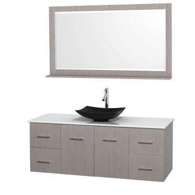 Vanity In Gray Oak With Solid Surface Vanity Top In White