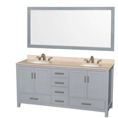 Sheffield 72 in. W x 22 in. D Vanity in Gray with Marble Vanity Top in Ivory with White Basins and 70 in. Mirror