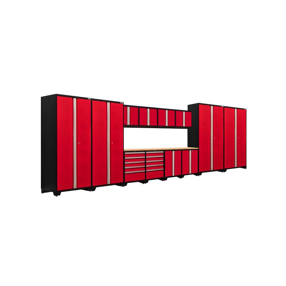 Pro 3.0 85 in. H x 256 in. W x 24 in. D 18-Gauge Welded Steel Bamboo Worktop Cabinet Set in Red (14-Piece)