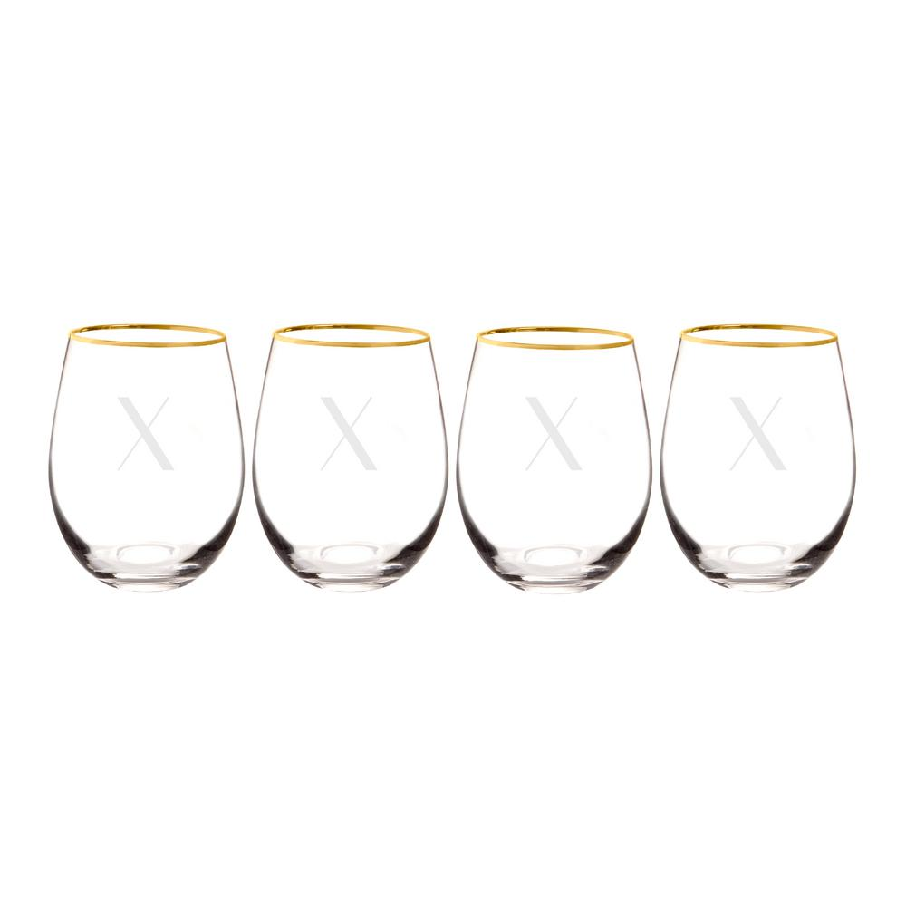 5a3082d1ca21 Personalized Gold Rim Stemless Wine Glasses - X-1120G-4-X - The Home Depot