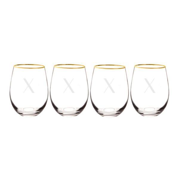 Personalized Gold Rim Stemless Wine Glasses X