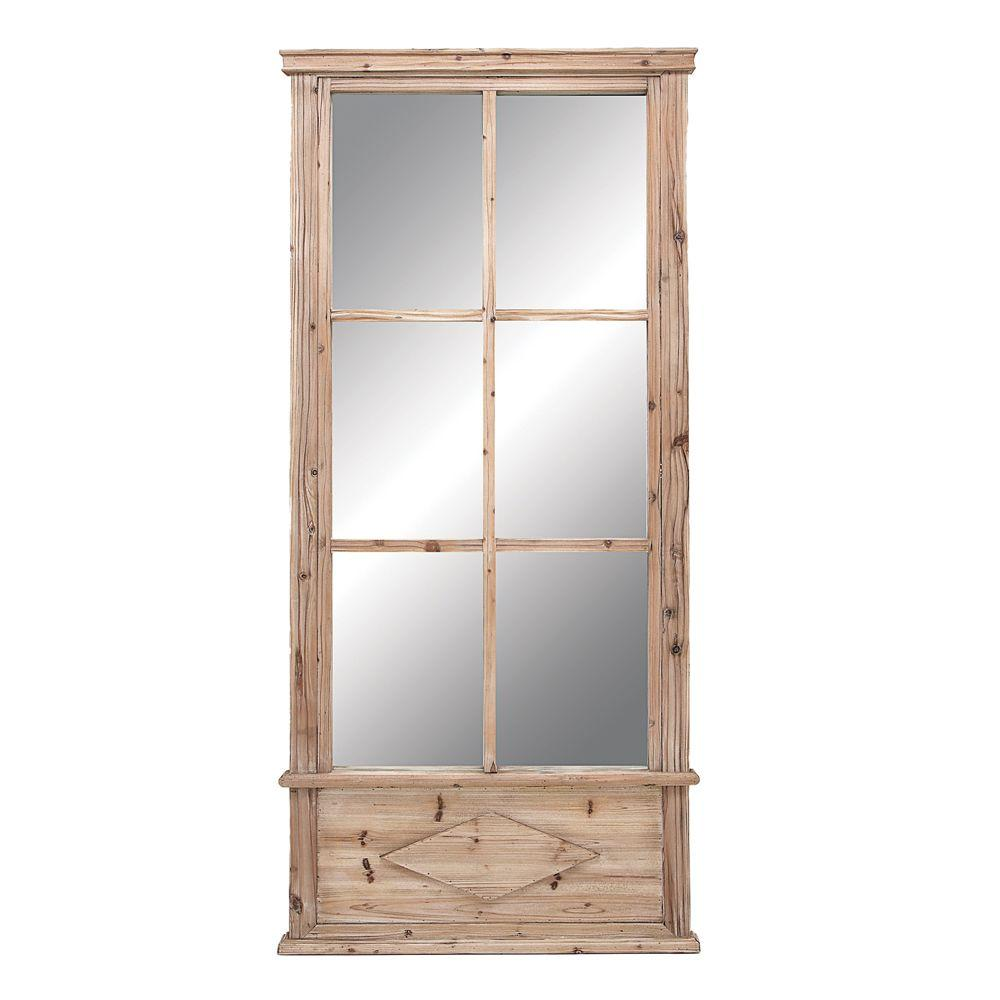 Home Decorators Collection 78 in. H x 36 in. W Wood Light Pine Framed Mirror