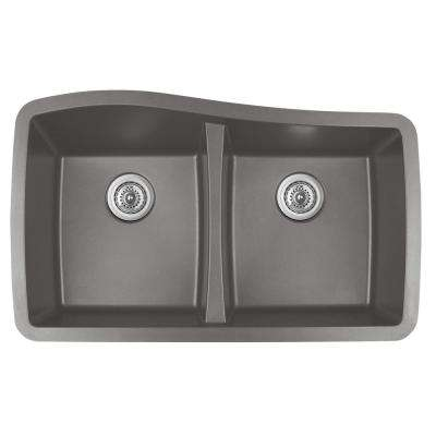 Undermount Quartz Composite 33 in. 50/50 Double Bowl Kitchen Sink in Concrete