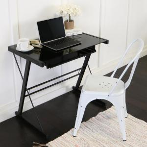 Walker Edison Furniture Company Home Office Glass and Metal Black Computer Desk by Walker Edison Furniture Company