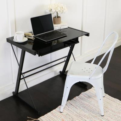 Home Office Glass and Metal Black Computer Desk