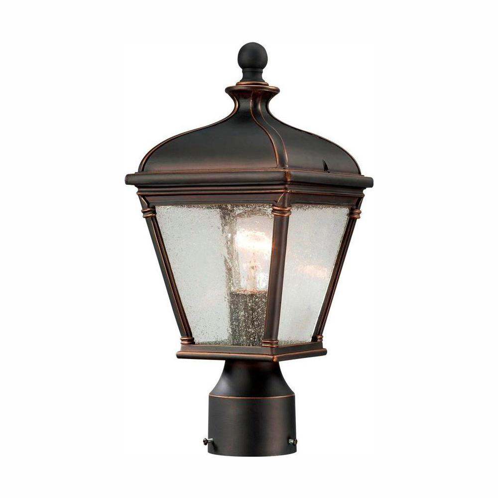 Hampton Bay Malford Dark-Rubbed Bronze Outdoor Post-Mount Lantern