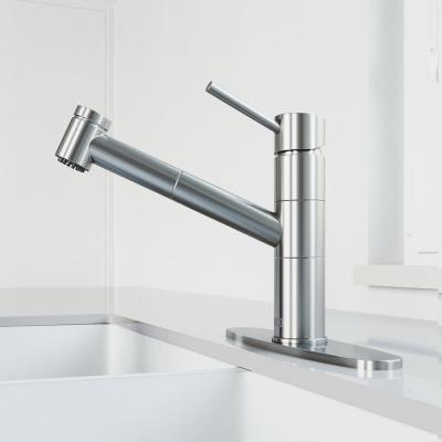Branson Single-Handle Pull-Out Sprayer Kitchen Faucet with Deck Plate in Stainless Steel
