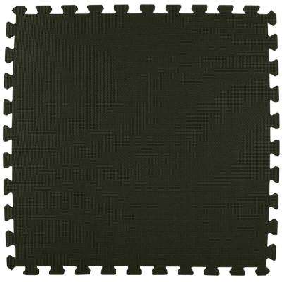 Economy Foam Black 2 ft. x 2 ft. x 1/2 in. Interlocking Puzzle Floor Tiles (Case of 20)