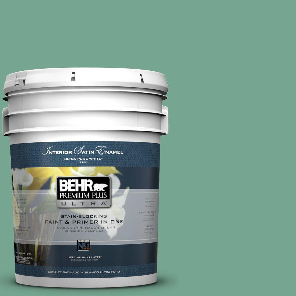 BEHR Premium Plus Ultra 5-gal. #M420-5 Free Green Satin Enamel Interior Paint