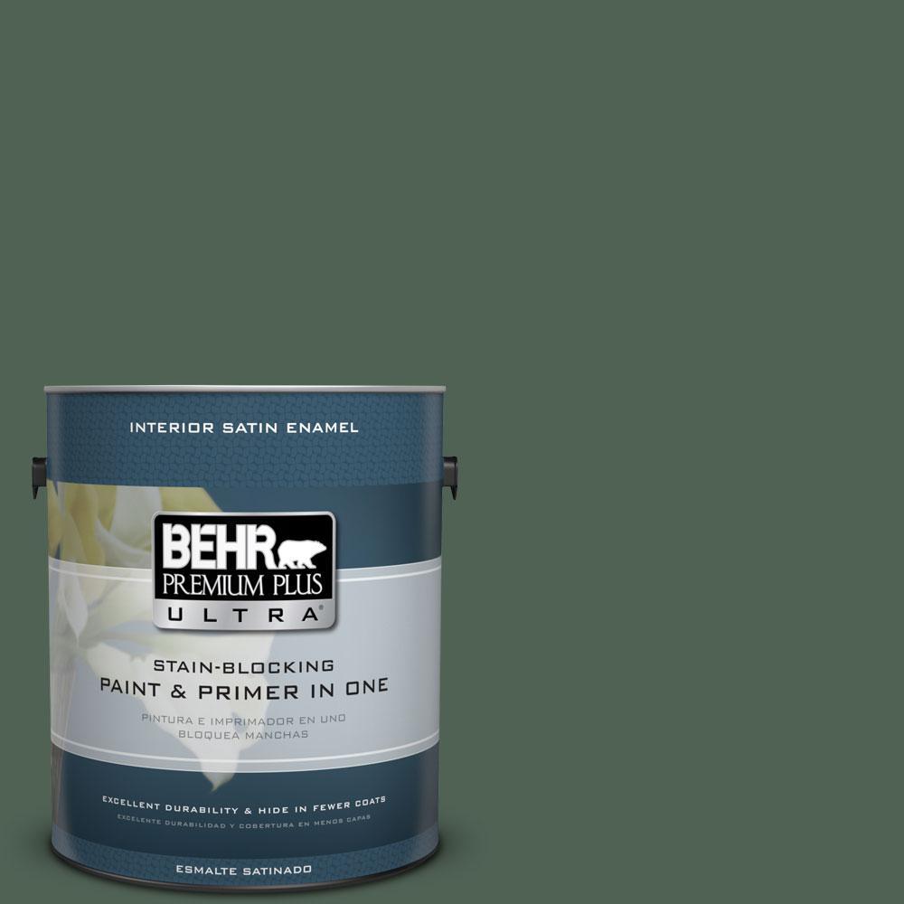 1-gal. #BXC-60 Pasture Green Satin Enamel Interior Paint