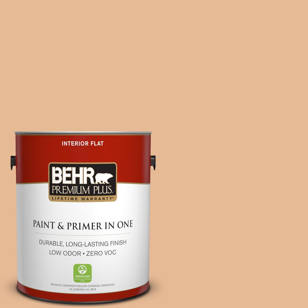 BEHR Premium Plus 1-gal. #280C-3 Fresh Praline Zero VOC Flat Interior Paint