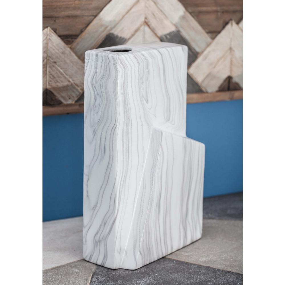 Litton Lane 12 in. Ceramic Geometric Marble-Finished Vase in White and Gray