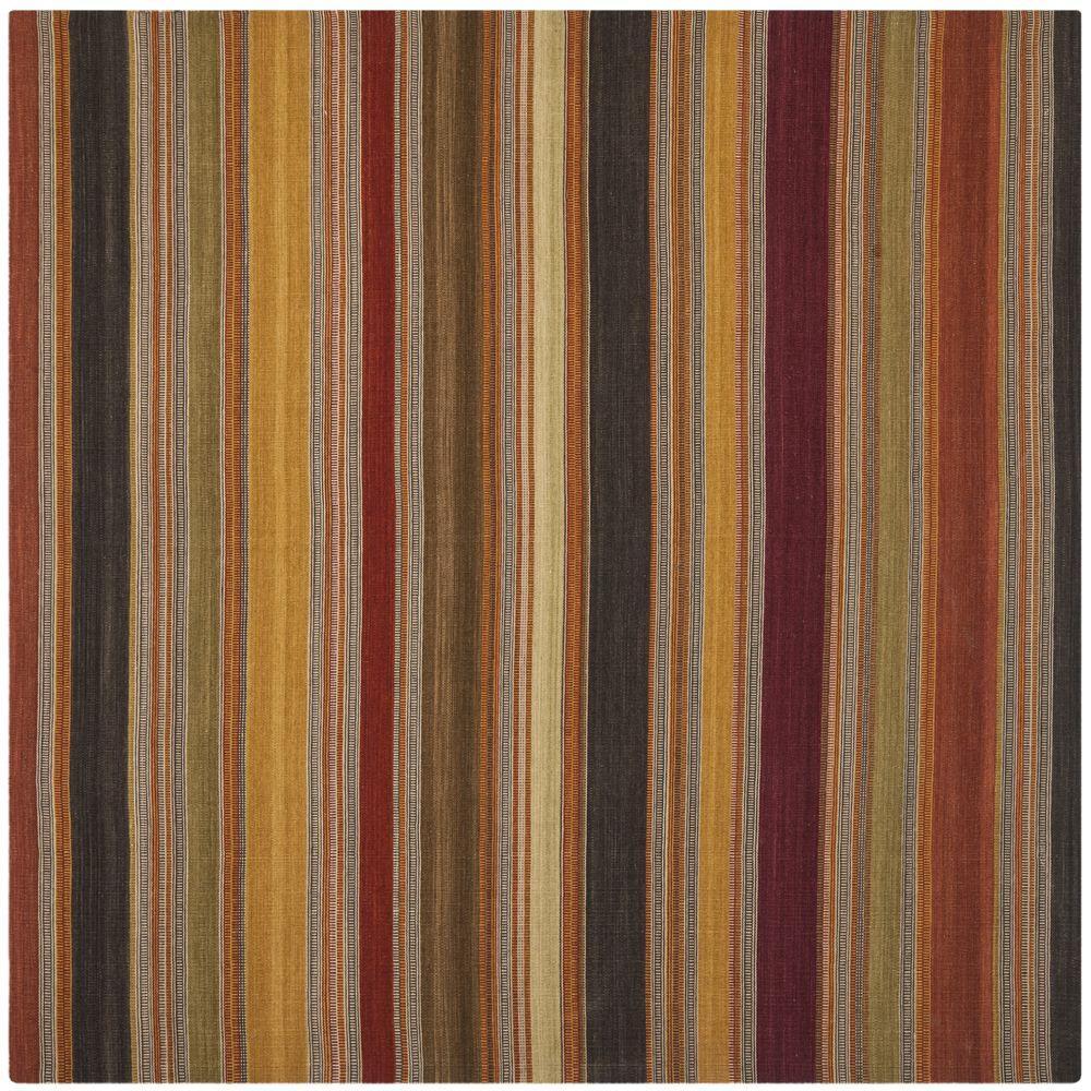 Striped Kilim Gold 7 ft. x 7 ft. Square Area Rug