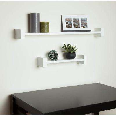 15.75 in. x 3.94 in. H-Shape White Wall Shelf Decorative Shelf