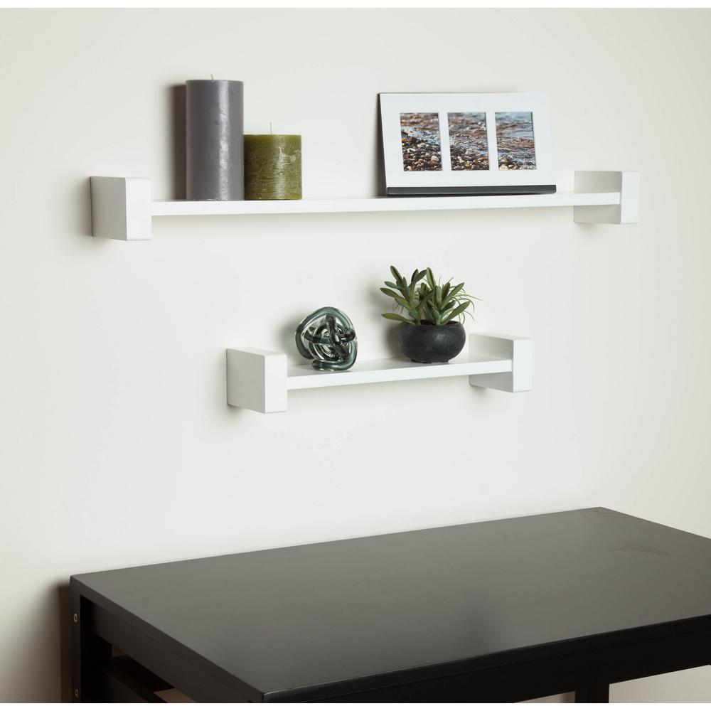 15.75 in. x 3.94 in. H-Shape White Wall Shelf Decorative Shelf