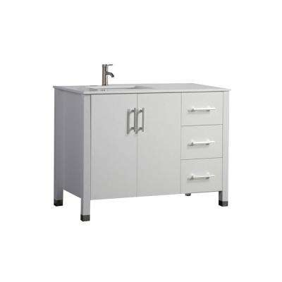 Moselle 40 in. W x 22 in. D x 36 in. H Left Side Sink Vanity in White with Microstone White Top with White Basin