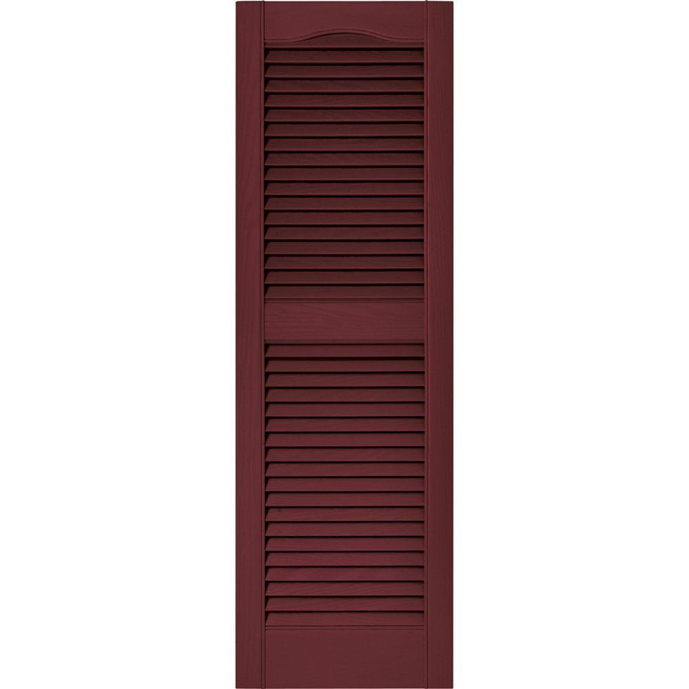 Home Depot Exterior Shutters: Builders Edge 15 In. X 48 In. Louvered Vinyl Exterior