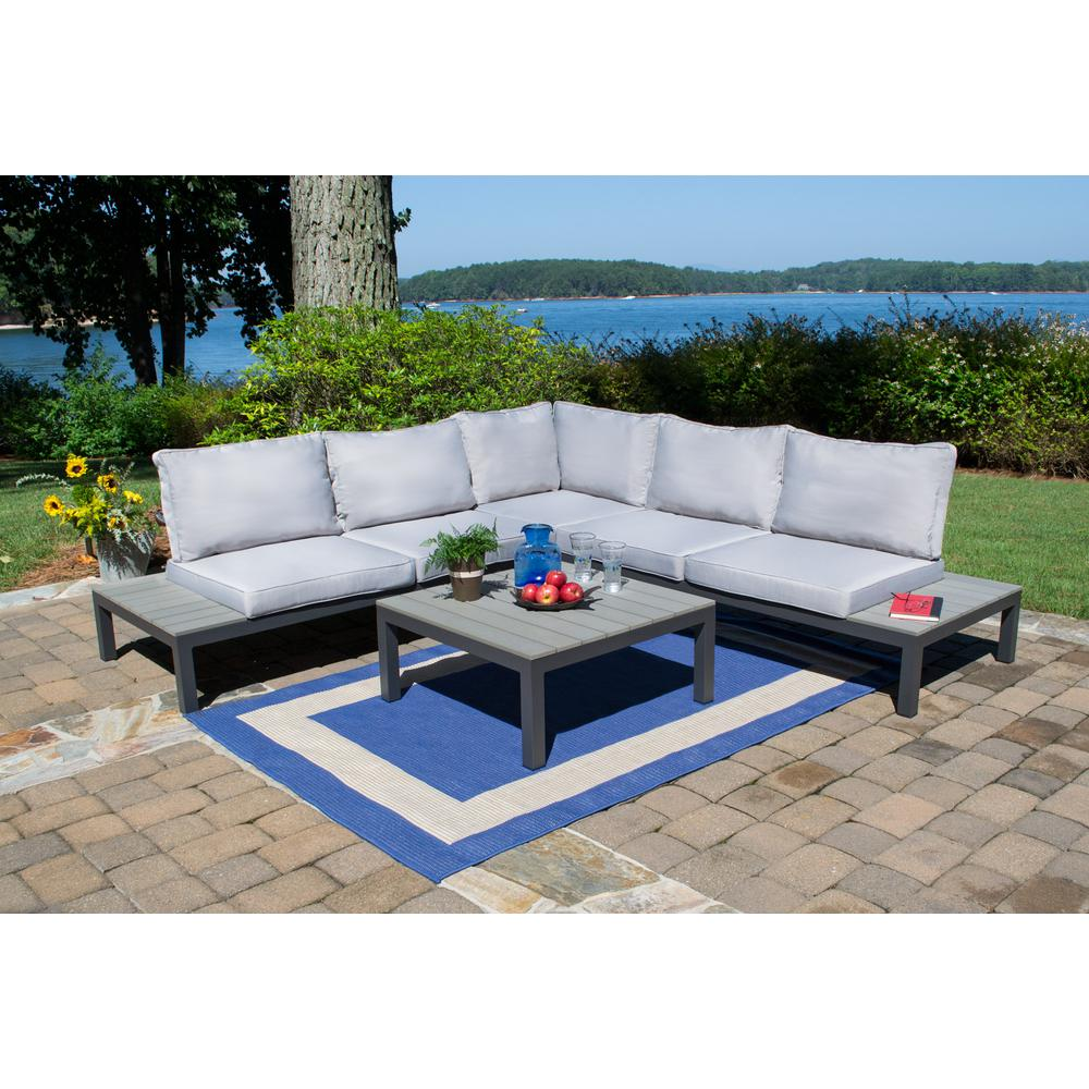 Tortuga Outdoor Lakeview Aluminum Sectional Set With Light Gray Cushions