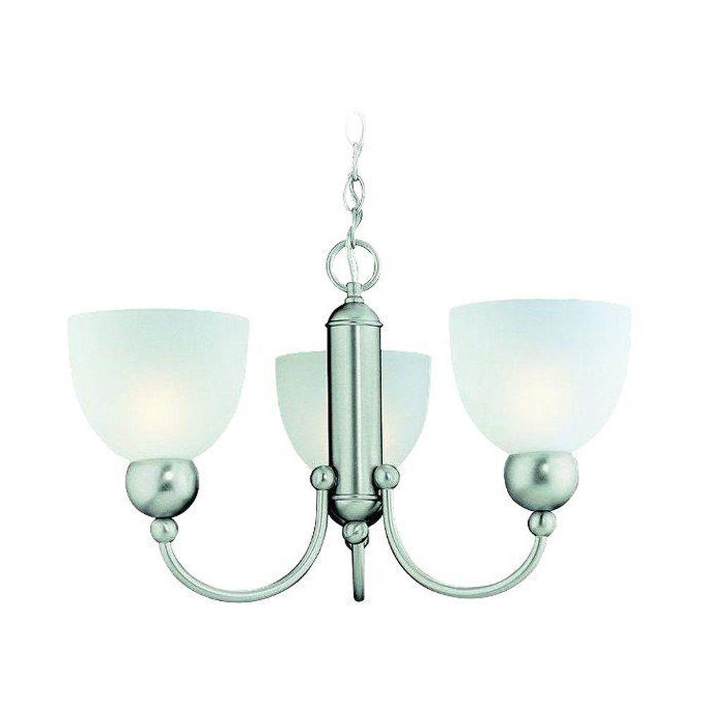 Metropolis Collection 3-Light Brushed Nickel Chandelier
