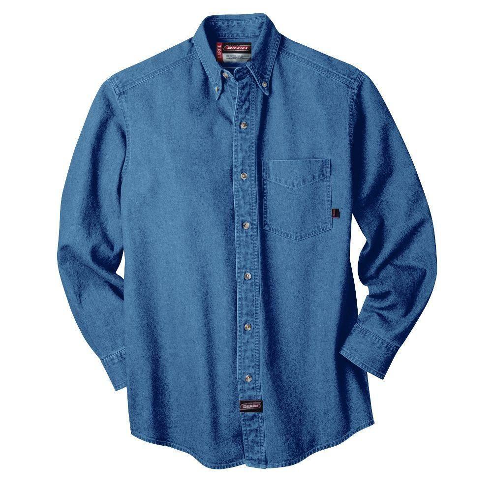 XXX-Large Long Sleeve Denim Shirt Blue