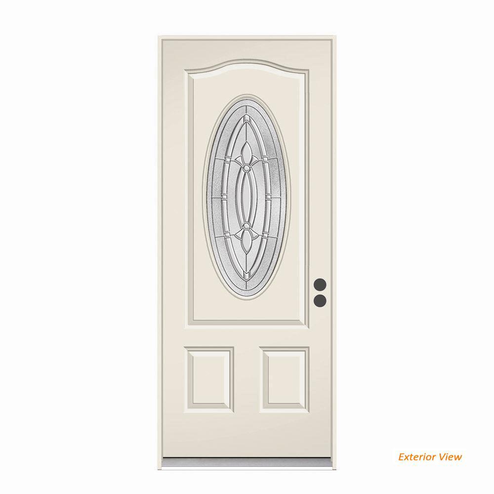 36 in. x 80 in. 3/4 Oval Lite Blakely Primed Steel Prehung Left-Hand Inswing Front Door